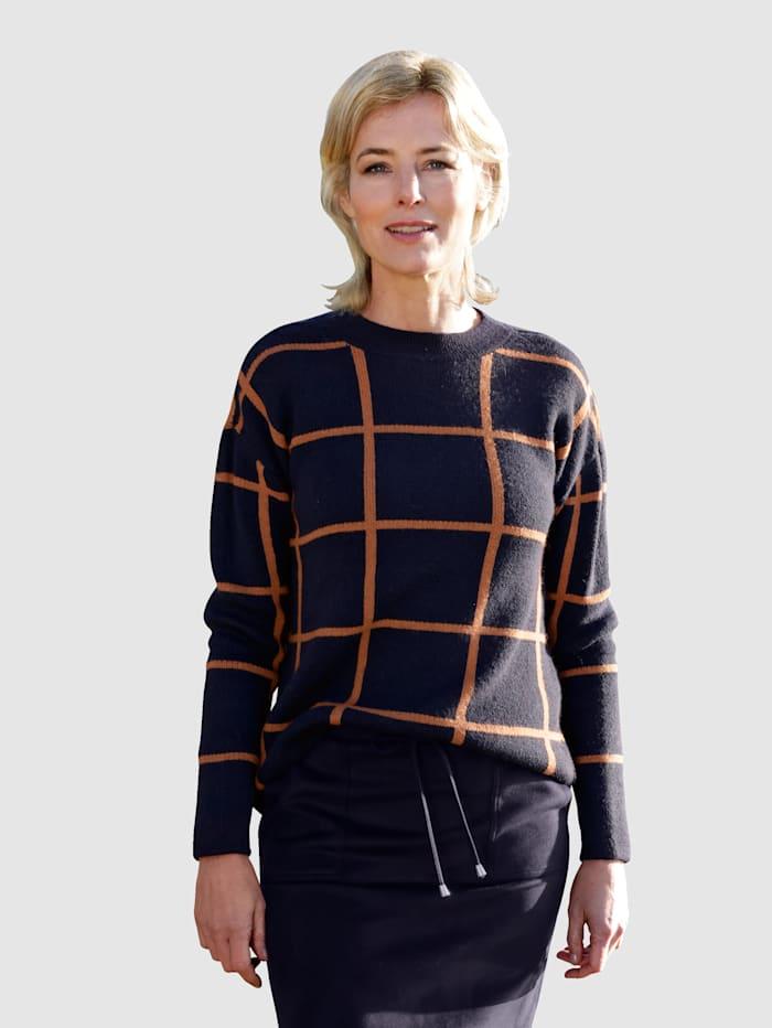 Dress In Pulóver s károvaným vzorom, Námornícka/Oriešková