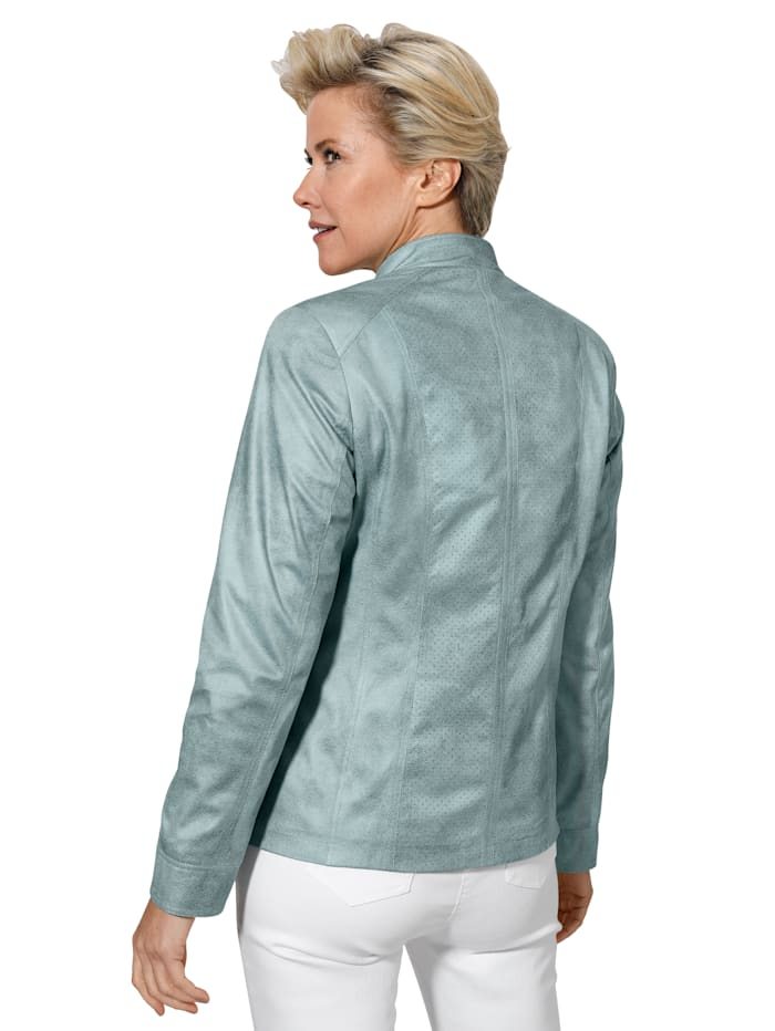 Lederimitat-Blazer mit Perforationen