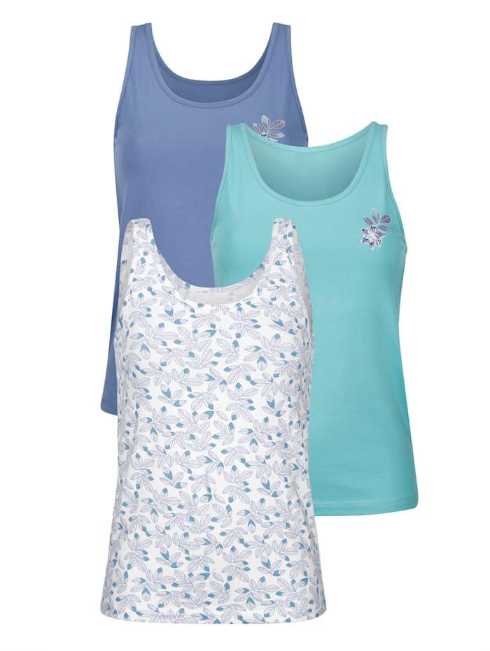 Blue Moon Hemdjes per 3 stuks, Blauw/Ecru/Turquoise