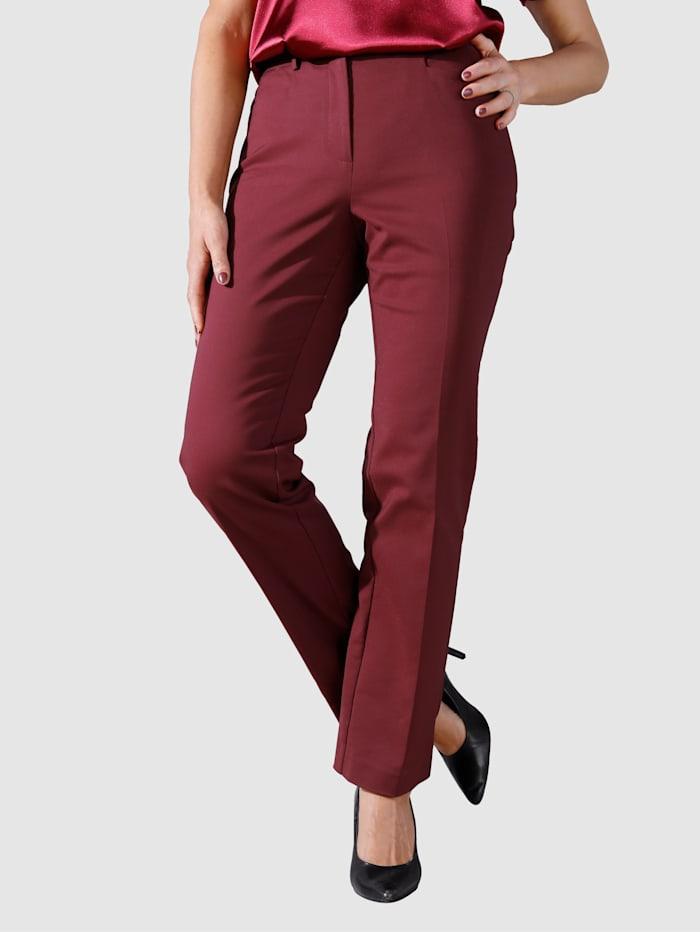 MIAMODA Pantalon avec plis permanents allongeants, Bordeaux