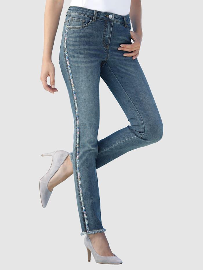 Laura Kent Jeans Laura Extra Slim - mit Zierband und Steinchenzier, Blue bleached