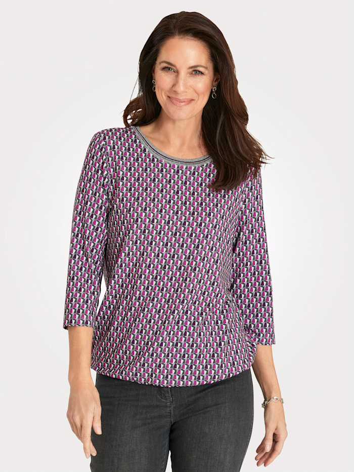 Rabe Shirt mit Allover-Druck, Pink/Grau