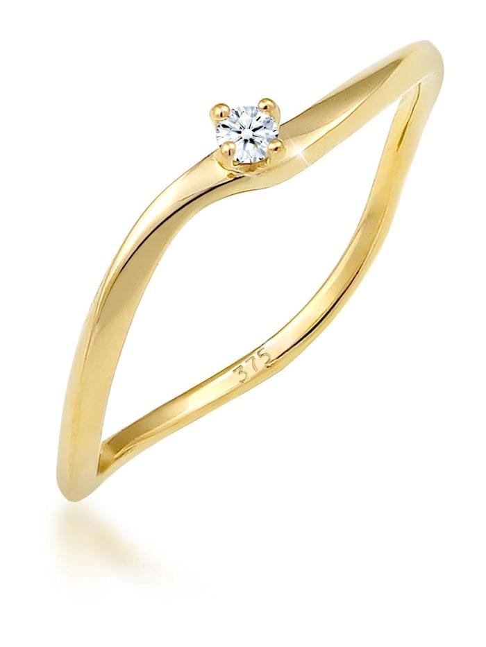 DIAMORE Ring Verlobung Welle Diamant (0.03 Ct.) 375 Gelbgold, Gold