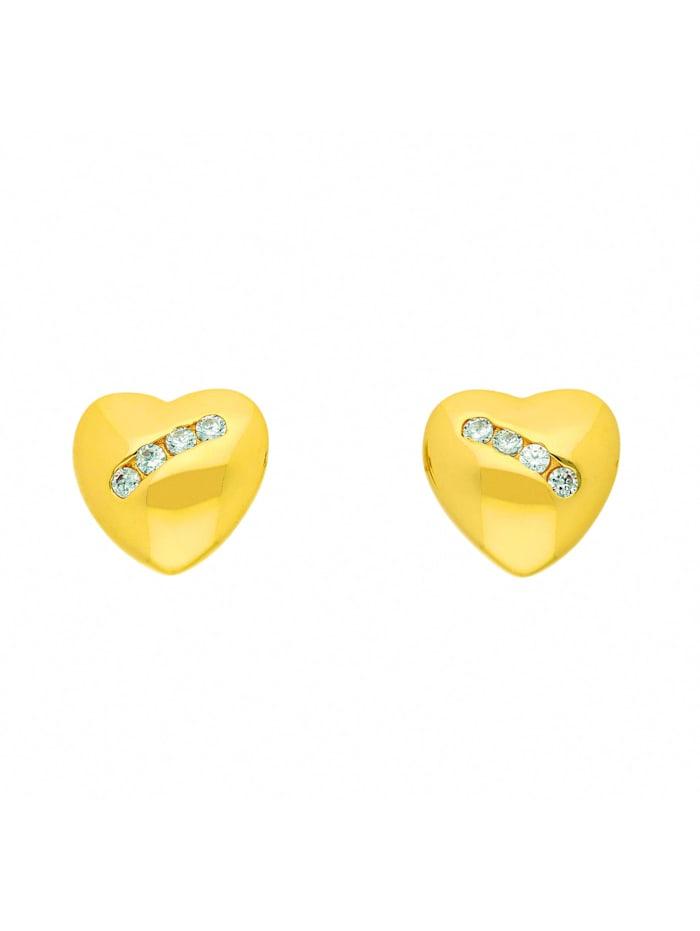 1001 Diamonds Damen Goldschmuck 333 Gold Ohrringe / Ohrstecker Herz mit Zirkonia, gold