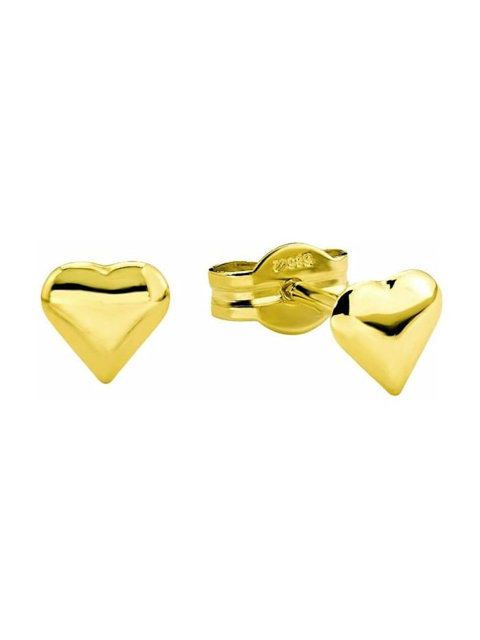 amor Ohrstecker für Damen 0,5 cm Herz 585 Gelbgold, Gold