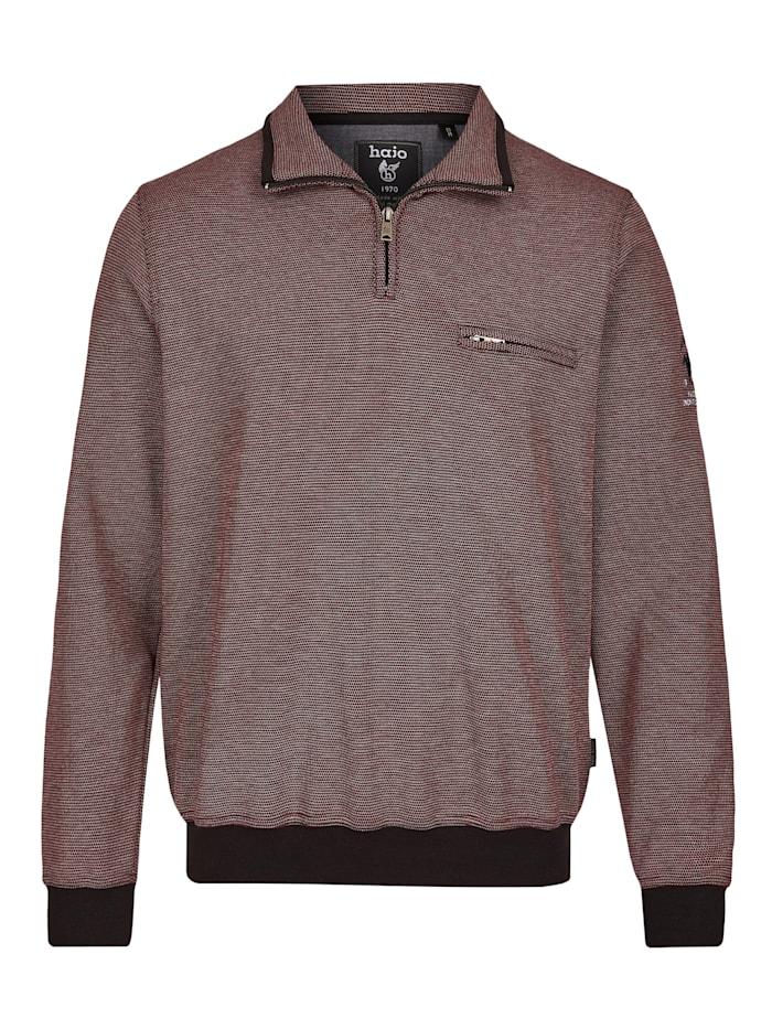 Hajo Sweatshirt in Dreitonoptik, dunkelrot