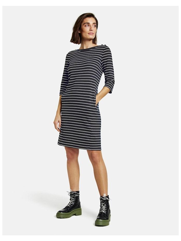 Gestreiftes Kleid aus Struktur-Jersey