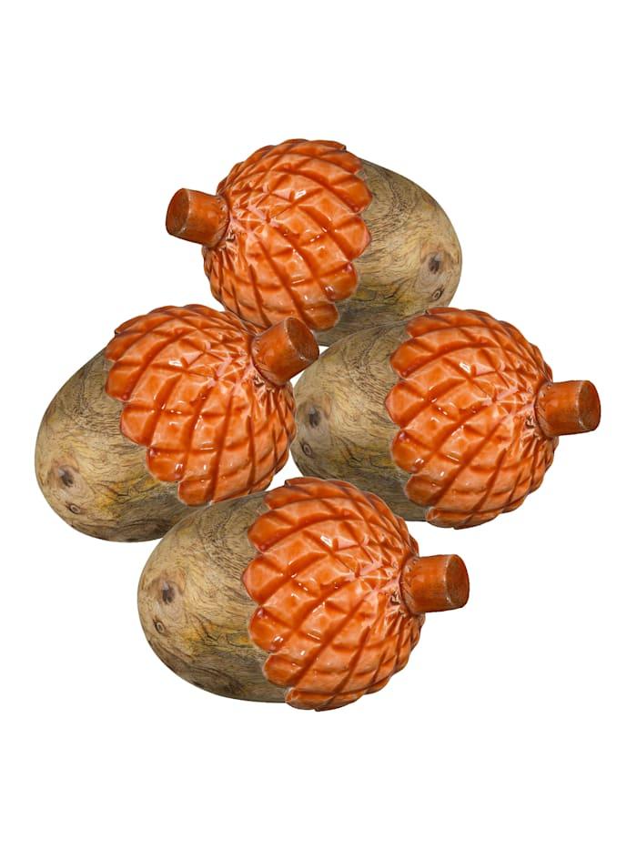 Creativ Deco 4 pyntefigurer -Eikenøtter-, oransje