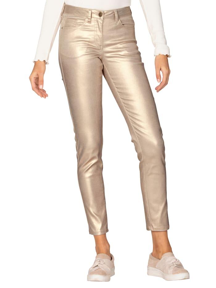 AMY VERMONT Pantalon à l'aspect métallisé, Rose