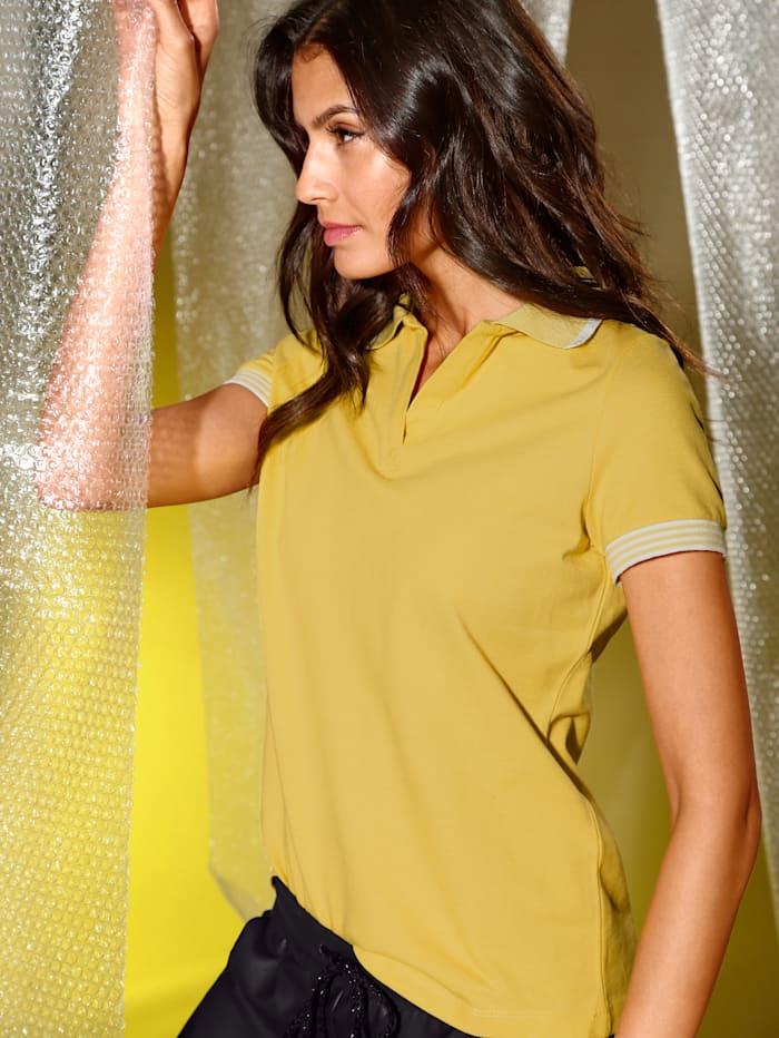 AMY VERMONT Poloshirt mit Strickbündchen, Gelb