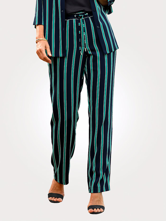 Pull-on trousers with stripes