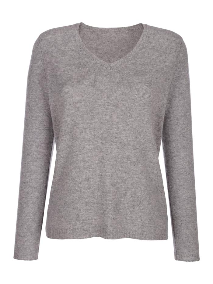 MONA Pullover aus reinem Kaschmir, Silbergrau