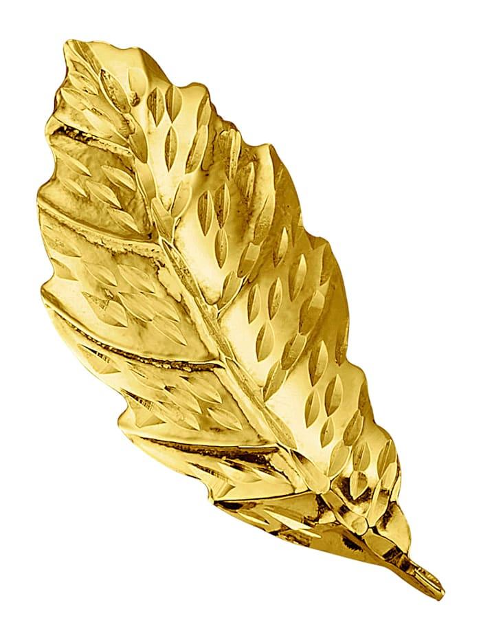 Bladformad brosch, Guldfärgad