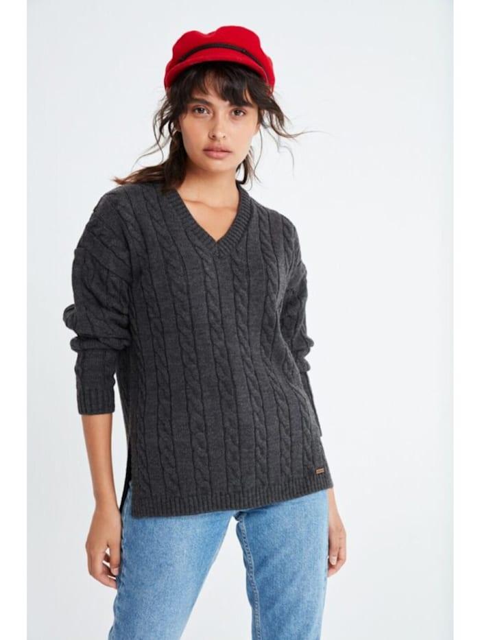 V-Ausschnitt Schlitz Pullover Verla mit unifarbenen Stoff
