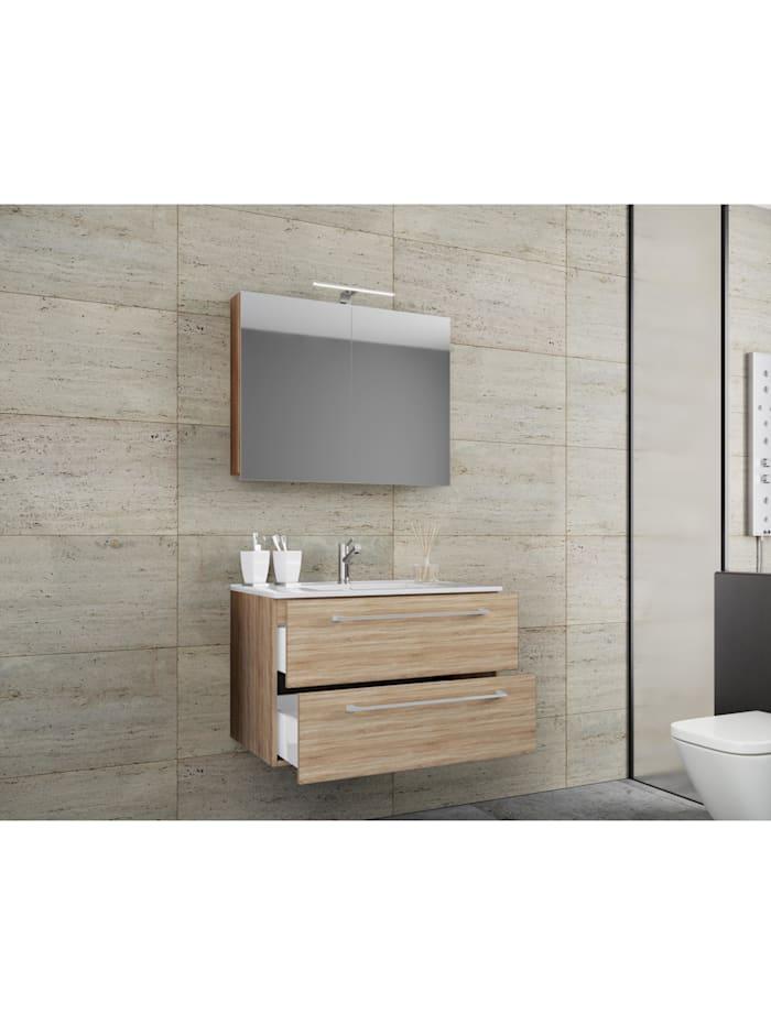 3.-tlg. Waschplatz Waschtisch Badinos Spiegelschrank