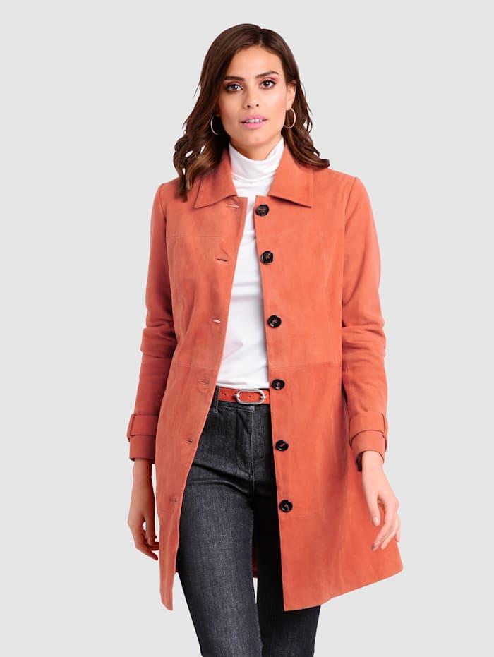 Alba Moda Ledermantel aus softem hochwertigem Ziegenveloursleder, Orange