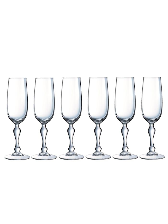 "Luminarc Champagneglas, 6 st. ""Charms"", ofärgad"