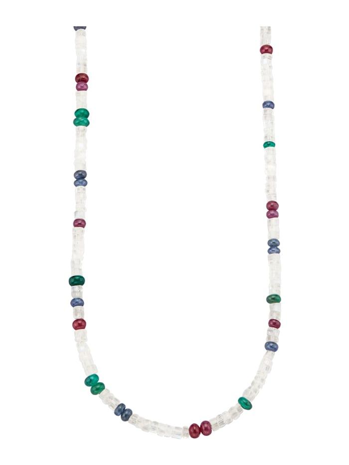 Diemer Farbstein Mondstein-Kette mit Rubinen, Saphiren und Smaragden, Multicolor