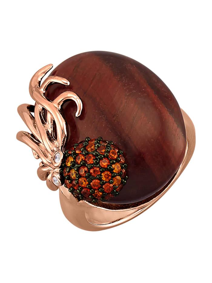 Amara Tendance Bague Pieuvre avec cabochon œil-de-tigre, Multicolore