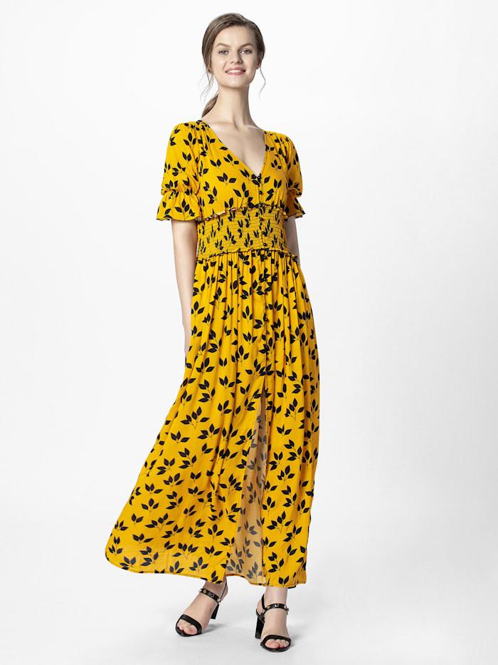 APART Sommerkleid lang, aus leichtem Material, gelb-schwarz