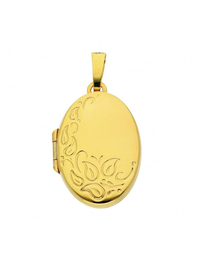 1001 Diamonds Damen Goldschmuck 585 Gold Medaillon Anhänger, gold