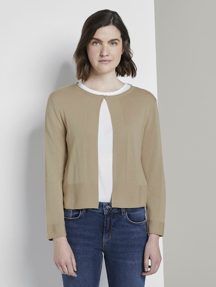 Tom Tailor Kurzer Cardigan mit 3/4-Arm, cream toffee