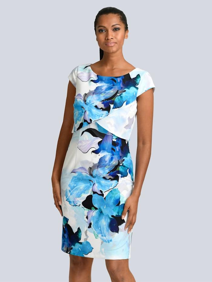Alba Moda Kleid in floralem Print, Blau/Schwarz/Off-white