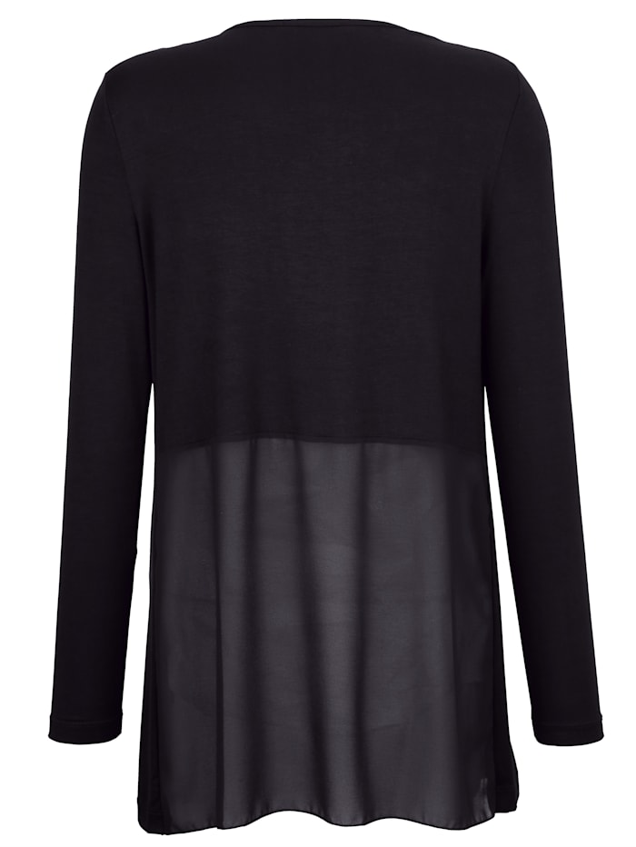Shirtjacke im Materialmix