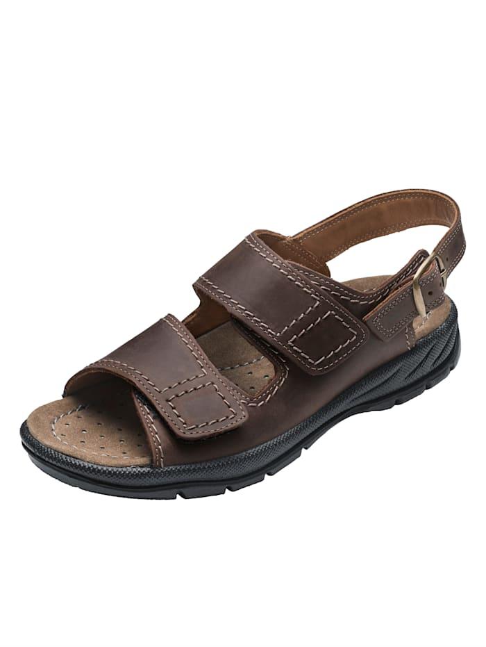 Jomos Sandale aus weichem Nubukleder, Dunkelbraun