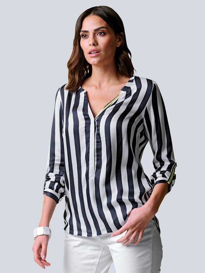 Alba Moda Bluse allover im kontrastfarbigem Streifen-Dessin, Marineblau/Off-white