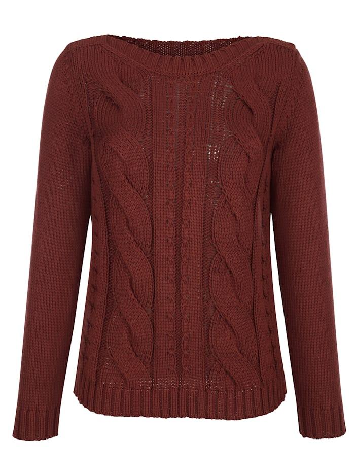 Pullover mit Struktur und Zopfstrick