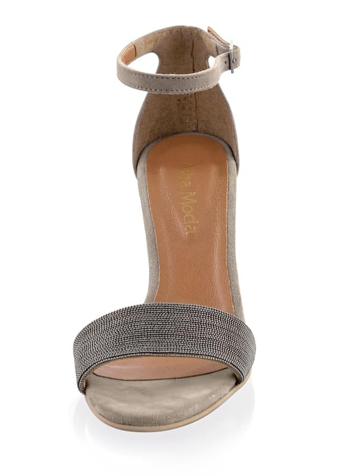 Sandalette mit kleinen Kügelchen besetzt