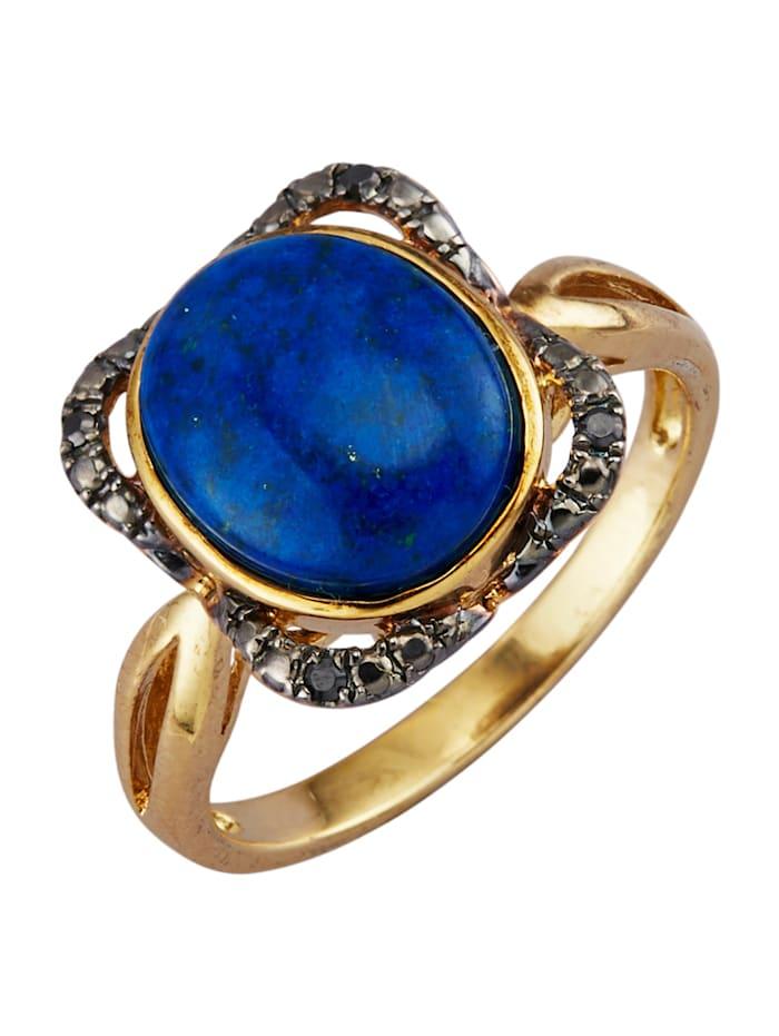 Damesring met lapis lazuli en synth. zirkonia's, Blauw