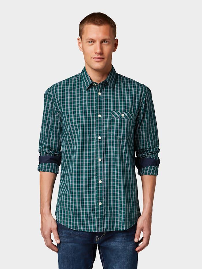 Tom Tailor Kariertes Hemd mit Brusttasche, green navy chack