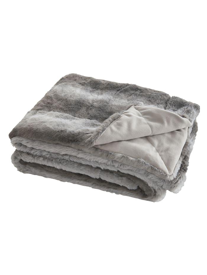 MESANA Pläd, vit/grå