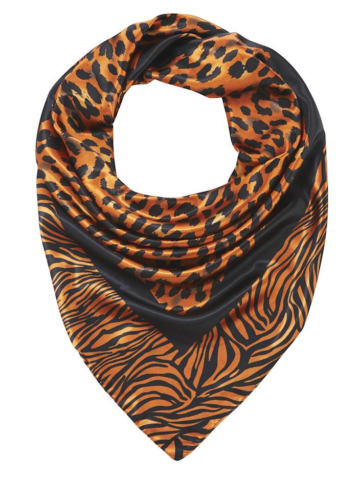 Foulard en satin à motif léopard, Orange/noir