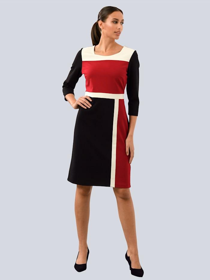 Alba Moda Kleid im Colour-Blocking, Schwarz/Rot/Weiß