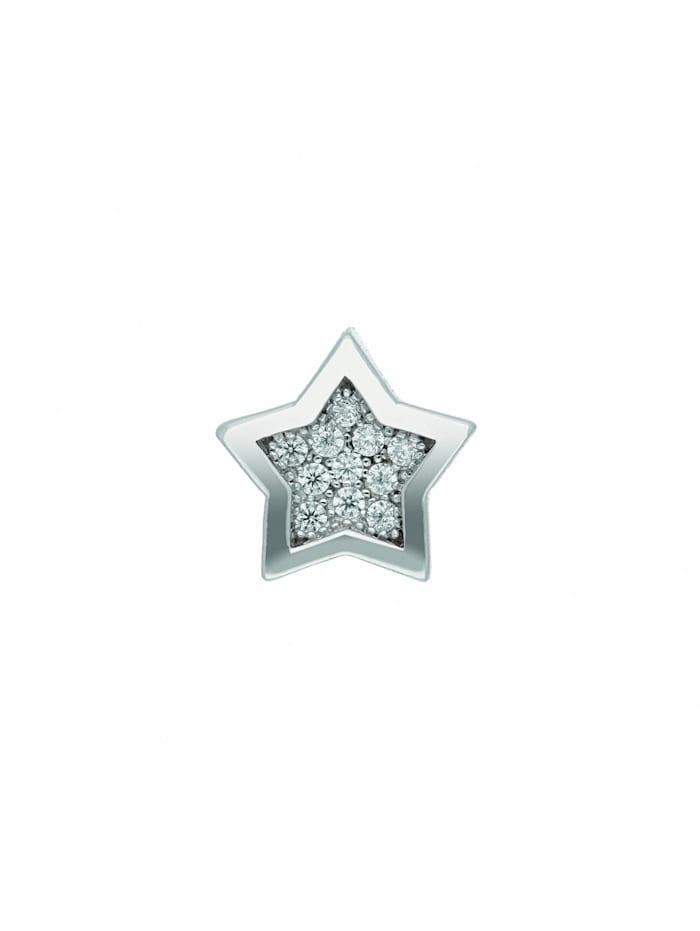 1001 Diamonds Damen Silberschmuck 925 Silber Anhänger Stern mit Zirkonia Ø 8,8 mm, silber