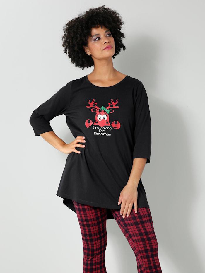 Janet & Joyce Shirt mit weihnachtlichem Druck, Schwarz