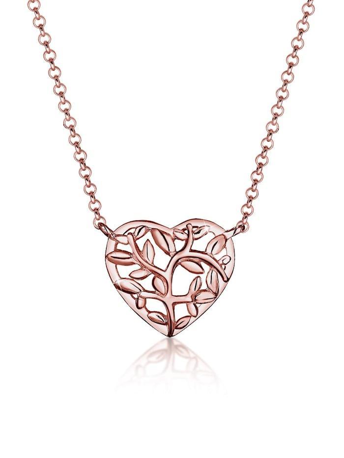 Elli Halskette Lebensbaum Herz 925 Sterling Silber, Rosegold