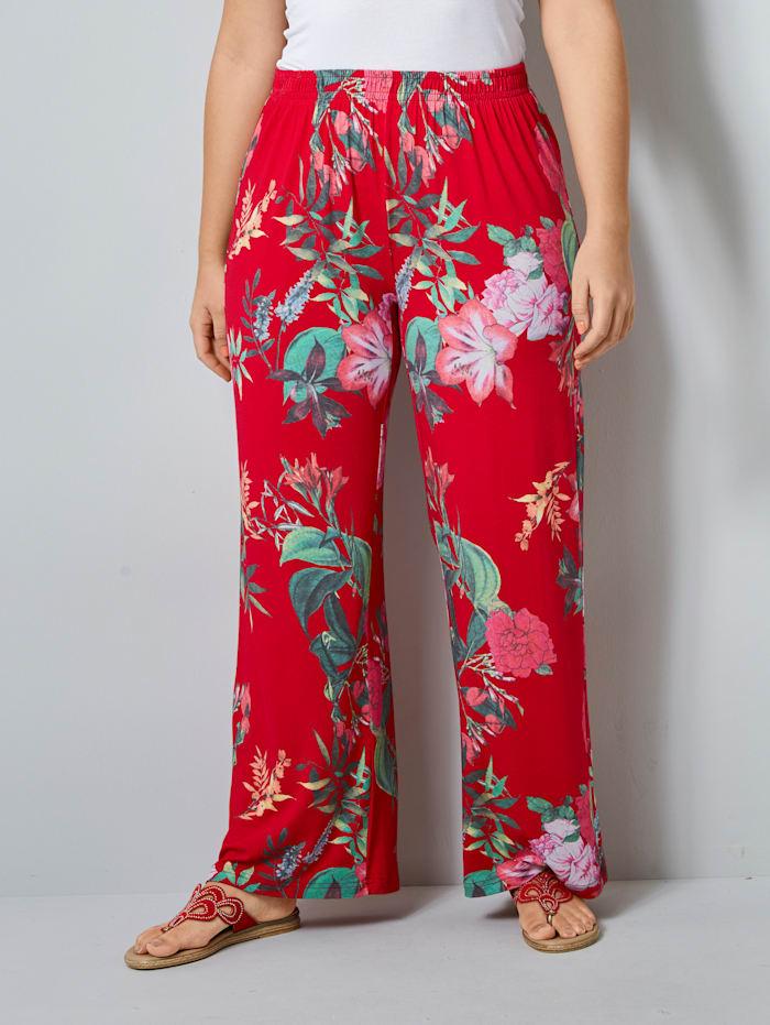 Janet & Joyce Jerseyhose mit floralem Druck, Rot/Khaki