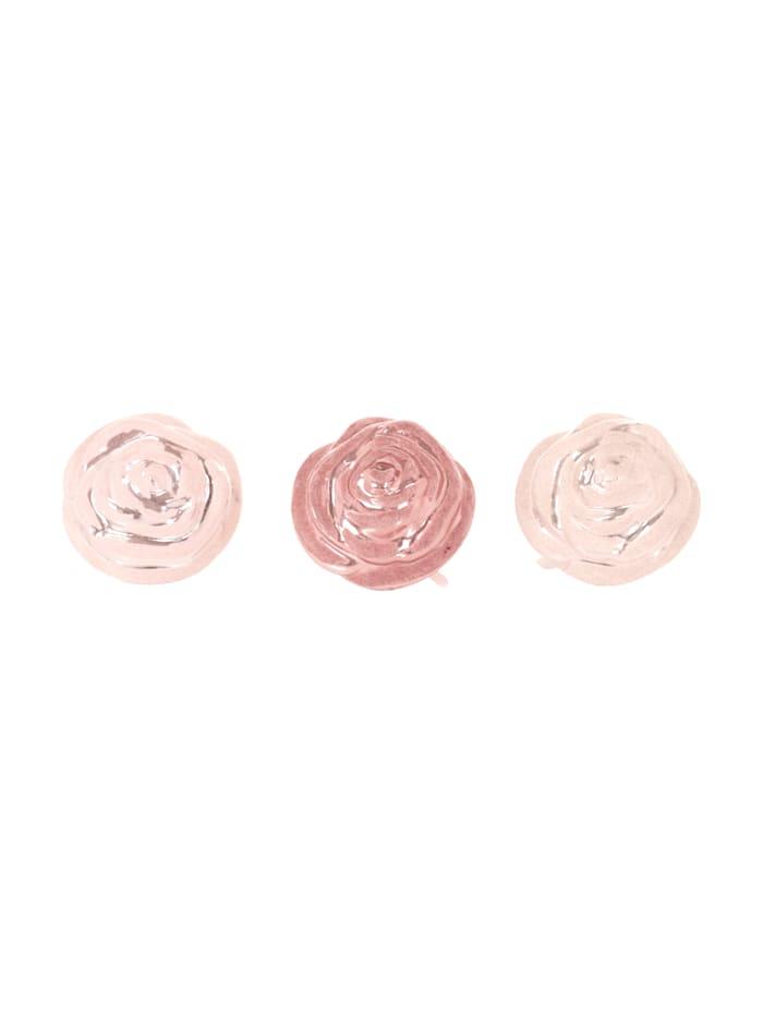 Boltze Deko-Clip-Set, 3-tlg., weiß/creme/rosa