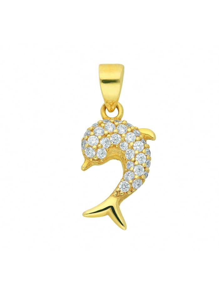 1001 Diamonds Damen Goldschmuck 333 Gold Anhänger Delphin mit Zirkonia, gold