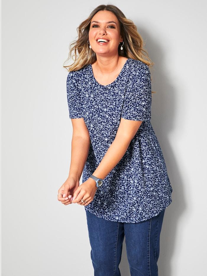 Janet & Joyce Shirt lässig geschnitten, Marineblau/Weiß