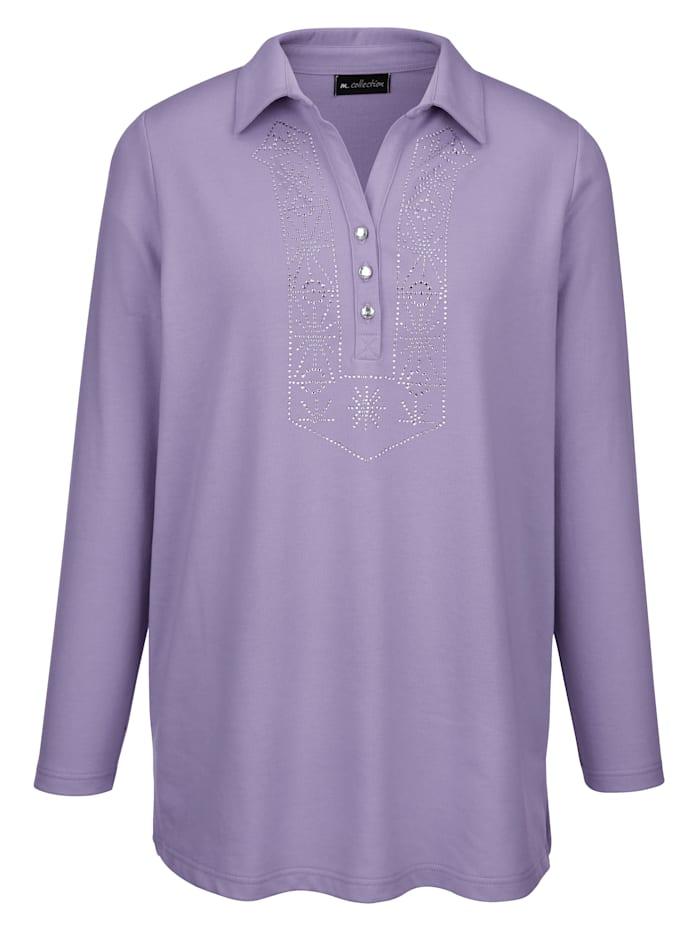m. collection Sweatshirt mit Polokragen und kleinem V-Auschnitt, Flieder