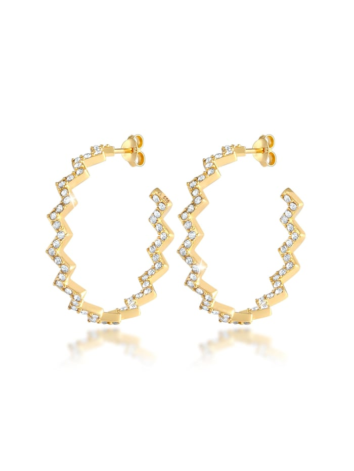 Elli Premium Ohrringe Creolen Zick Zack  Kristalle 925 Silber, Gold