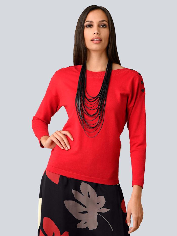 Alba Moda Pullover mit dekorativen Zierknöpfen, Rot