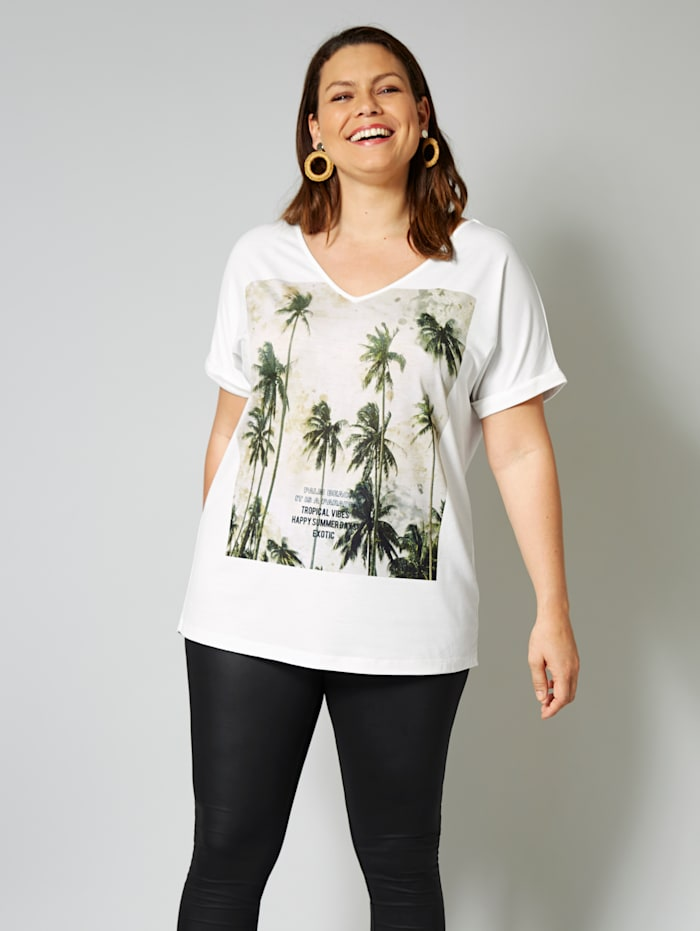 Sara Lindholm Shirt met palmenmotief, Wit/Olijf