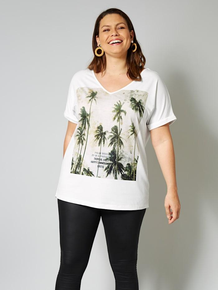 Sara Lindholm Shirt mit Palmenmotiv, Weiß/Oliv