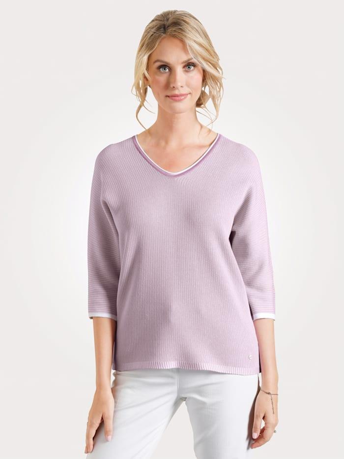 Olsen Pullover mit Baumwolle, Lavendel/Off-white